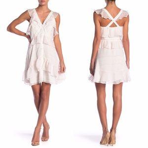 Adelyn Rae WHITE PINK Winona Ruffle Stripe Dress L